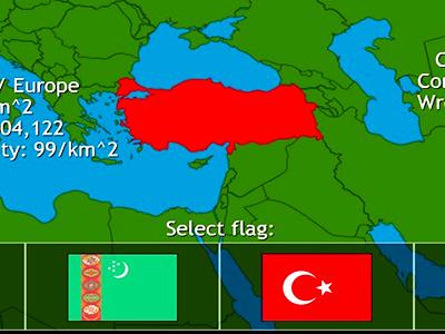 ülke Testi Oyunu Haritada Bayrak Başkent şehir Bulma